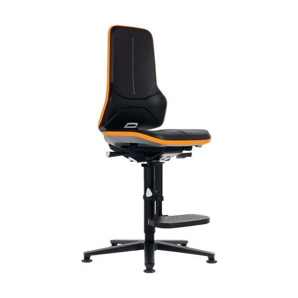 chaise laboratoire neon 3 sur patins avec marchepieds contact permanent bordure orange sans. Black Bedroom Furniture Sets. Home Design Ideas