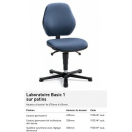CHAISE LABO BASIC PATINS CONTACT PERMANENT TISSU NOIR