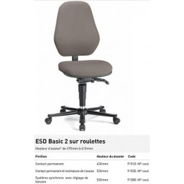 CHAISE ESD BASIC ROULETTES CONTACT PERM. INCL ASS. TISSU GRIS