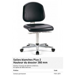 CHAISE SALLE BL. PLUS ROULETTES CONTACT PERM. HT DOSS. 380 MM SYNT